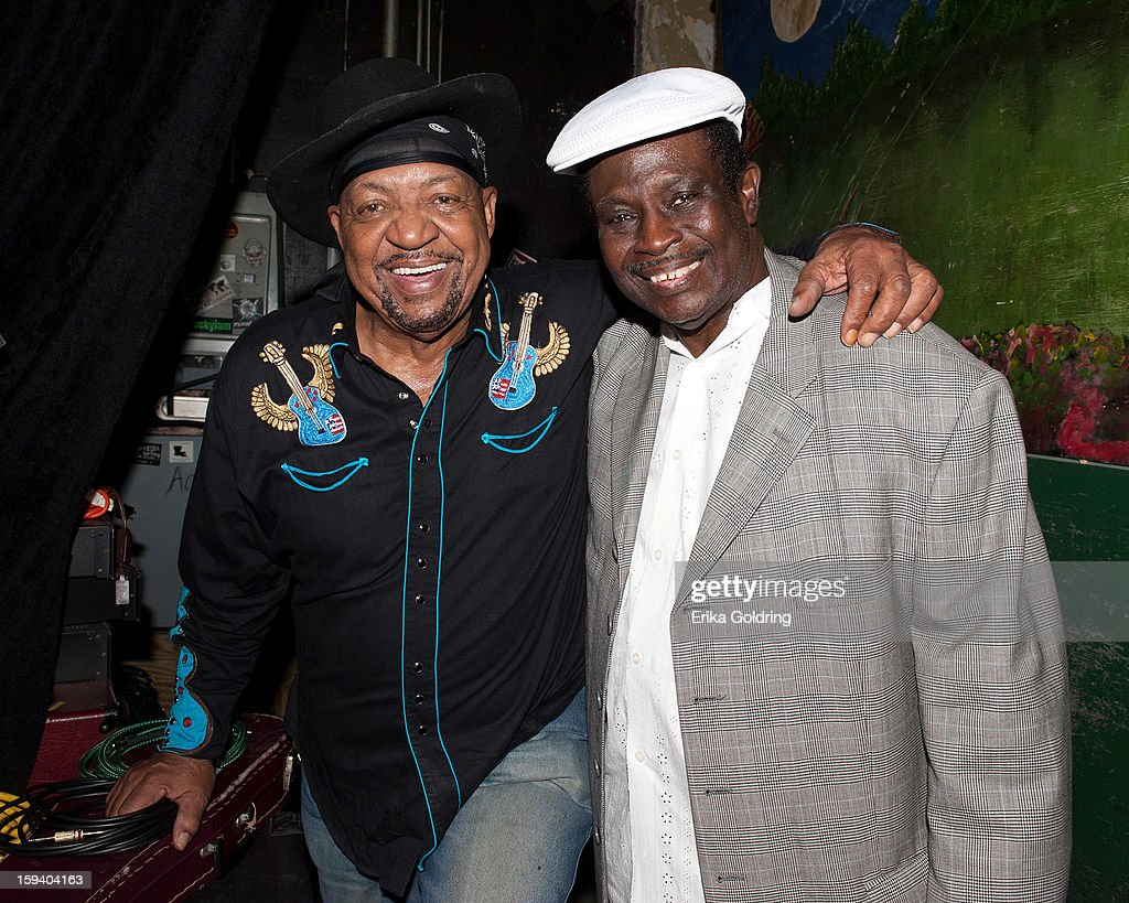 Musicians Guitar Lightnin Lee and Al 'Carnival Time' Johnson pose backstage during 'My Lil' Darlin': An HBO Treme All Star Revue' at Tipitina's on January 12, 2013 in New Orleans, Louisiana.