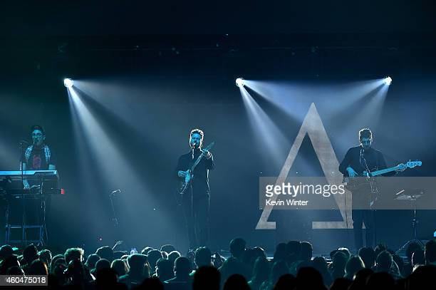 Musicians Gus UngerHamilton Joe Newman and Cameron Knight of altJ perform onstage during day two of the 25th annual KROQ Almost Acoustic Christmas at...