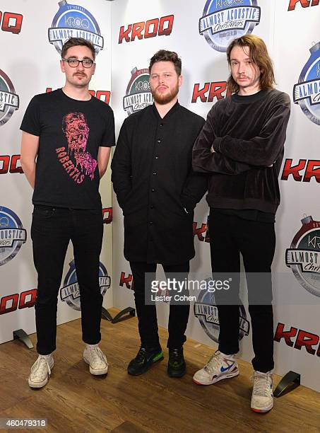 Musicians Gus UngerHamilton Joe Newman and Thom Green of altJ attend day two of the 25th annual KROQ Almost Acoustic Christmas at The Forum on...