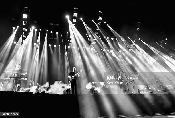 Musicians Gus UngerHamilton Joe Newman Gwil Sainsbury and Thom Green of altJ perform onstage during day 2 of the 2015 Coachella Valley Music Arts...