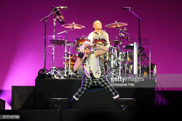 Musicians Gwen Stefani and Adrian Young of No Doubt perform onstage during Rock in Rio USA at the MGM Resorts Festival Grounds on May 8 2015 in Las...