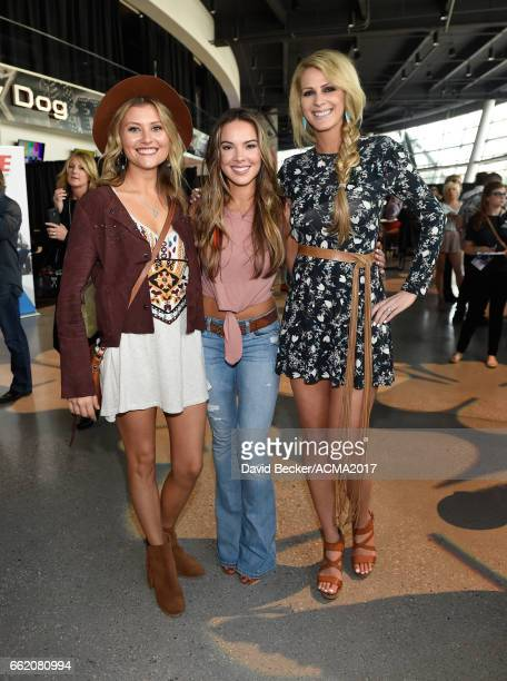 Musicians Hannah Mulholland Naomi Cooke and Jennifer Wayne of Runaway June attend the 52nd Academy Of Country Music Awards Cumulus/Westwood One Radio...