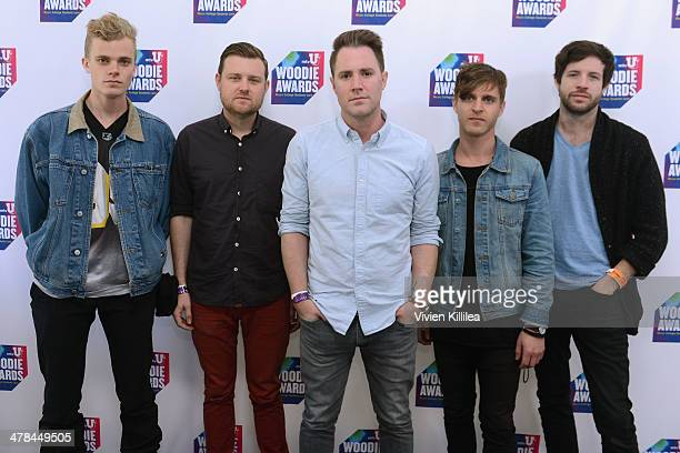 Musicians Harry West Eric Wilson Keegan DeWitt Jeremy Bullock and Dabney Morris of the band Wild Cub attend the 2014 mtvU Woodie Awards and Festival...