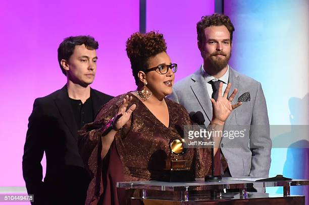 Musicians Heath Fogg Brittany Howard and Steve Johnson of Alabama Shakes accept the award for Best Alternative Music Album 'Sound Color' onstage...