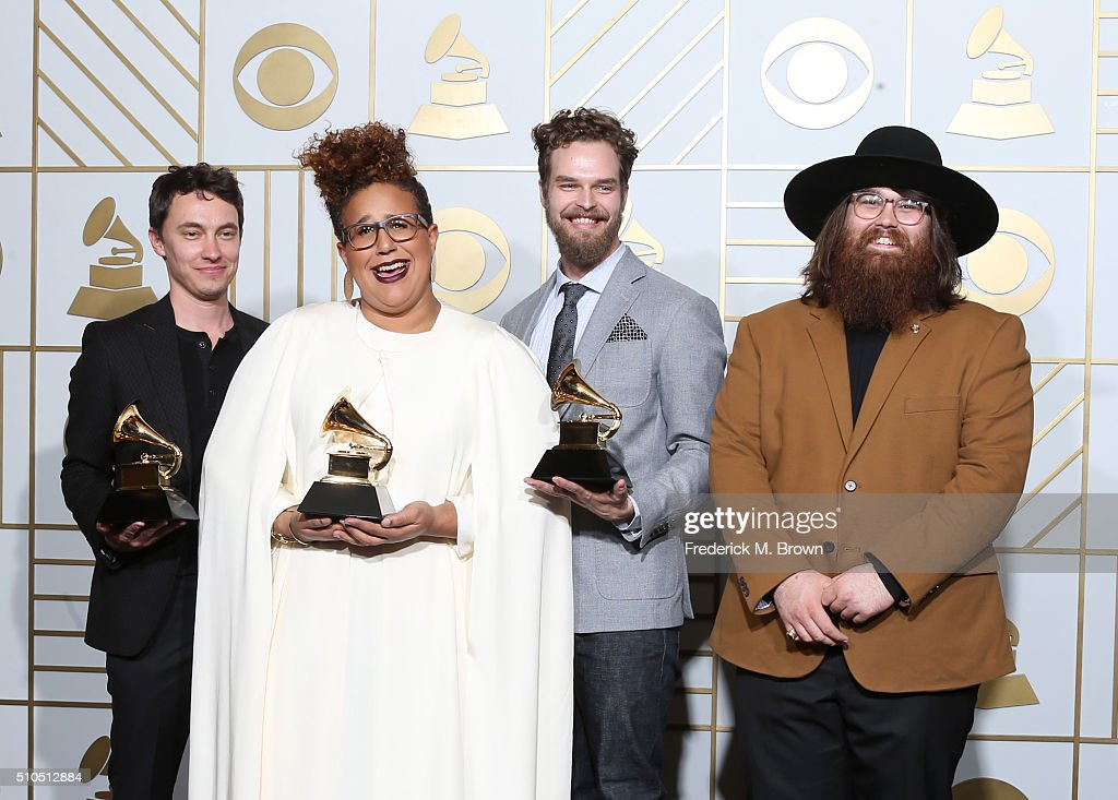 Musicians Heath Fogg, Brittany Howard, Steve Johnson, and Zac Cockrell of Alabama Shakes, winners of Best Alternative Music Album for 'Sound & Color' and Best Rock Performance and Best Rock Song for 'Don't Wanna Fight,' pose in the press room during The 58th GRAMMY Awards at Staples Center on February 15, 2016 in Los Angeles, California.