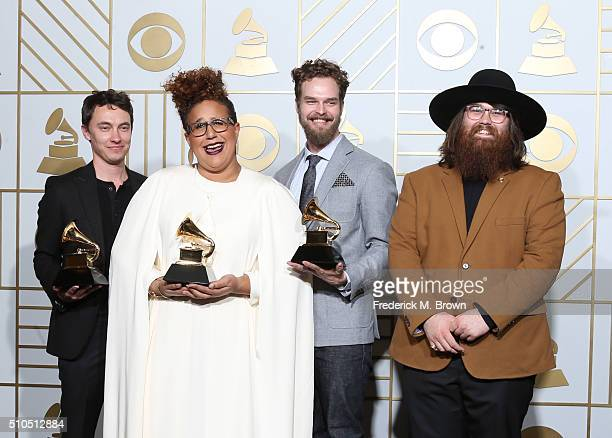Musicians Heath Fogg Brittany Howard Steve Johnson and Zac Cockrell of Alabama Shakes winners of Best Alternative Music Album for 'Sound Color' and...