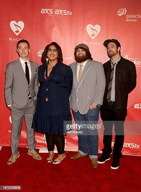 Musicians Heath Fogg, Brittany Howard, Zac Cockrell and Steve Johnson of Alabama Shakes attend the 2013 MusiCares Person Of The Year Honoring Bruce...