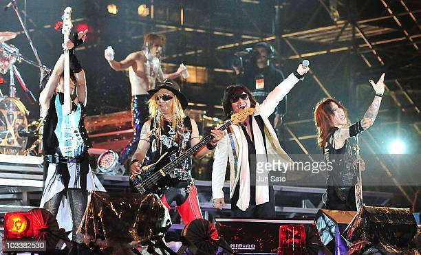 Musicians Heath Yoshiki Taiji Toshi and Sugizo of X Japan performs live at Nissan Stadium on August 14 2010 in Yokohama Japan