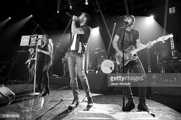 Musicians Hilary Scott Charles Kelley and Dave Haywood of Lady Antebellum perform on The Honda Stage at the iHeartRadio Theater on June 29 2015 in...