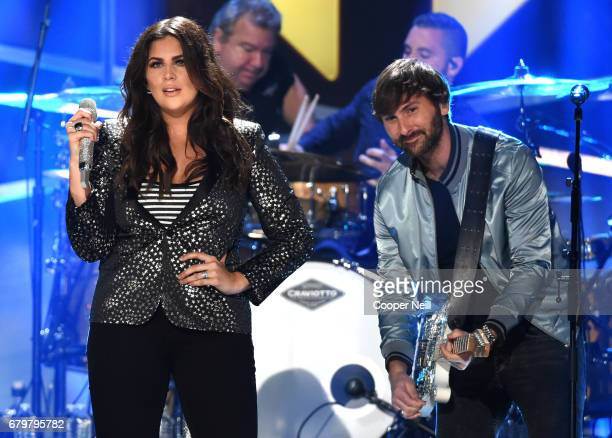 Musicians Hillary Scott and Dave Haywood of Lady Antebellum perform onstage during the 2017 iHeartCountry Festival A Music Experience by ATT at The...