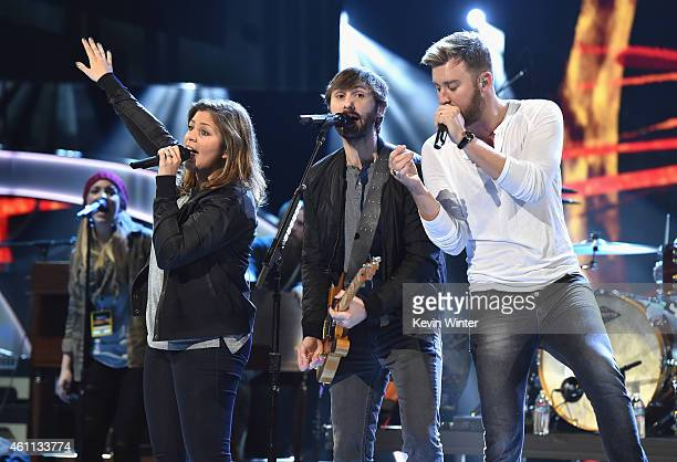 Musicians Hillary Scott Charles Kelley and Dave Haywood of Lady Antebellum performs onstage during The 41st Annual People's Choice Awards Rehearsals...