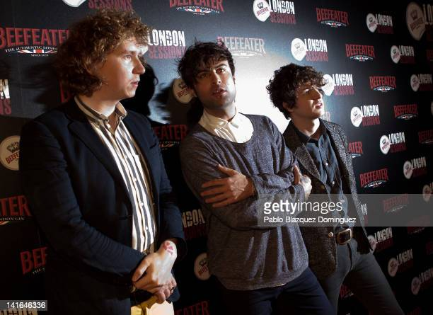 Musicians Hugh Harris Peter Denton and Luke Pritchard of The Kooks attend the Beefeater London Sessions in El Corral de la Pacheca on March 20 2012...