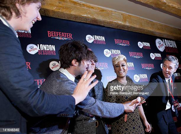 Musicians Hugh Harris Peter Denton Luke Pritchard of The Kooks Emeli Sande and Baxter Dury attend the Beefeater London Sessions in El Corral de la...