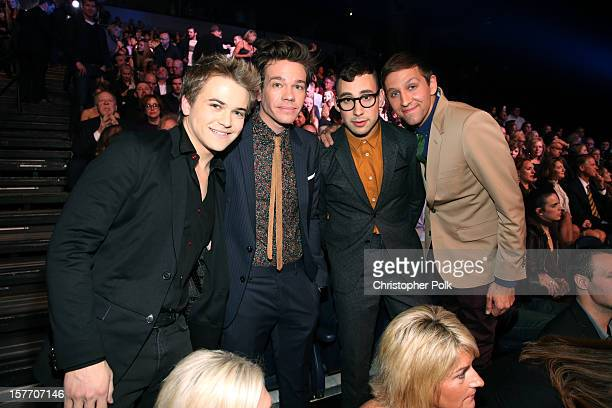 Musicians Hunter Hayes and Nate Ruess Jack Antonoff and Andrew Dost of Fun attend The GRAMMY Nominations Concert Live held atBridgestone Arena on...