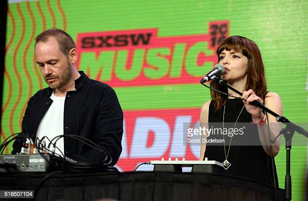 Musicians Iain Cook and Lauren Mayberry of the band Chvrches perform onstage at the Austin Convention Center on March 18 2016 in Austin Texas