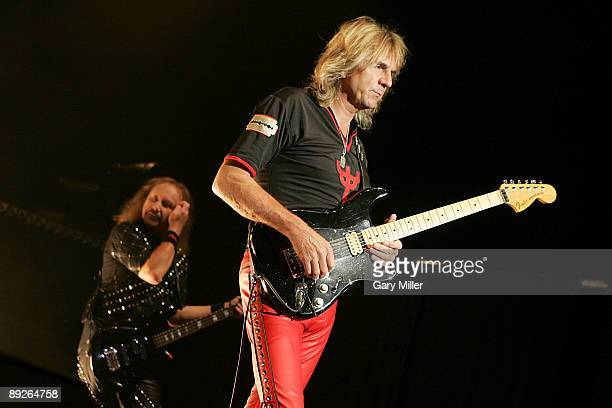 Musicians Ian Hill and Glenn Tipton of Judas Priest perform in concert at the ATT Center on July 25 2009 in San Antonio Texas