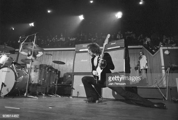 Musicians Ian Paice and Ritchie Blackmore of Deep Purple performing at KBHallen Copenhagen Denmark March 1972