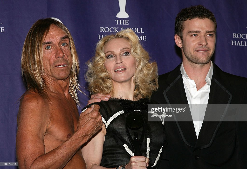 Musicians Iggy Pop, Madonna and Justin Timberlake pose in the press room during the 23rd Annual Rock and Roll Hall of Fame Induction Ceremony at the Waldorf Astoria on March 10, 2008 in New York City.