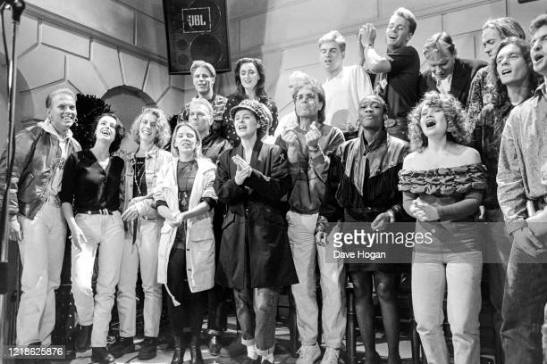 Musicians including Wet Wet Wet, Cliff Richard, Lisa Stansfield, Big Fun, Bananarama and Sonia during the recording of the Band Aid 2 charity single...