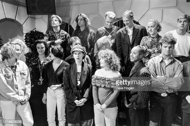 Musicians including Wet Wet Wet, Cliff Richard, Lisa Stansfield, Big Fun, Bananarama, Glen Goldsmith and Sonia during the recording of the Band Aid 2...