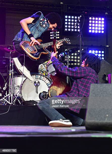 Musicians Isaiah Radke III and Dee Radkey of Radkey perform onstage during day 2 of the 2015 Coachella Valley Music Arts Festival at the Empire Polo...