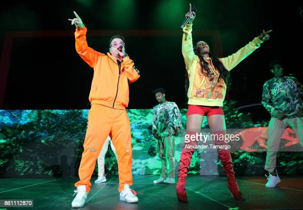 Musicians J Balvin and BIA are seen performing on stage during the Energia Tour at the AmericanAirlines Arena on October 13 2017 in Miami Florida