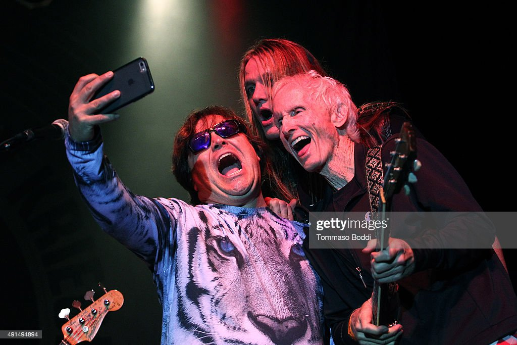Musicians Jack Black, Sebastian Bach and Robby Krieger take a selfie on stage during the Medlock Krieger Celebrity Golf Invitational 2015 - All Star Concert held at Moorpark Country Club on October 5, 2015 in Moorpark, California.
