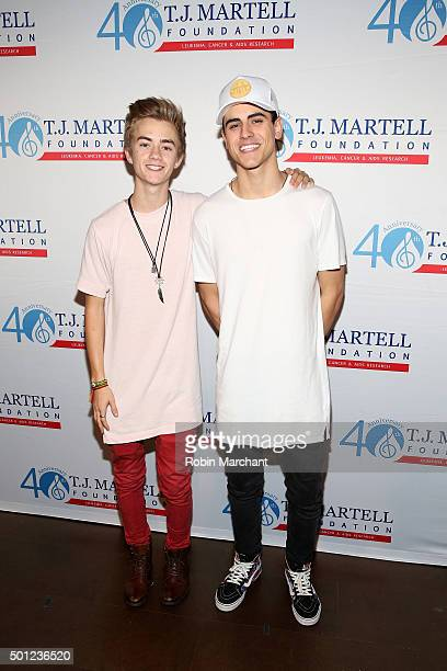 Musicians Jack Johnson and Jack Gilinsky of Jack Jack attend TJ Martell Foundation's 16th Annual New York Family Day at Wythe Hotel on December 13...