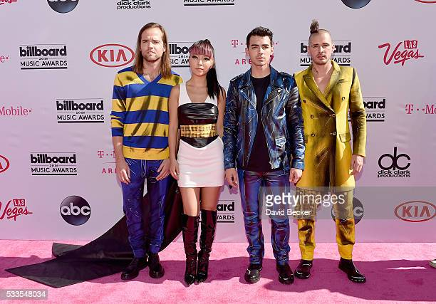 Musicians Jack Lawless JinJoo Lee Joe Jonas and Cole Whittle of DNCEattends the 2016 Billboard Music Awards at TMobile Arena on May 22 2016 in Las...