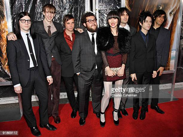 Musicians Jack Lawrence, Bradford Cox, unidentified guest, Oscar Michel, Karen O, Dean Fertita, Nick Zinner and Brian Chase of Karen O And The Kids...
