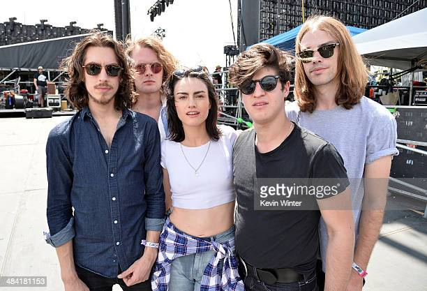 Musicians Jack Moffitt Thomas Champion Isabella Manfredi Gideon Bensen and Luke Davison of The Preatures pose backstage during day 1 of the 2014...