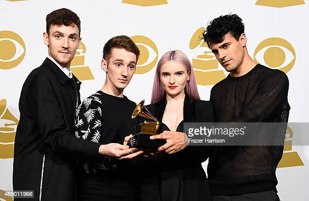 Musicians Jack Patterson Luke Patterson Grace Chatto and Milan Neil AminSmith of Clean Bandit winners of Best Dance Recording for 'Rather Be' pose in...