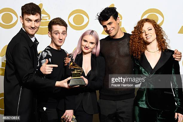 Musicians Jack Patterson Luke Patterson Grace Chatto Milan Neil AminSmith and Jess Glynne winners of Best Dance Recording for 'Rather Be' pose in the...