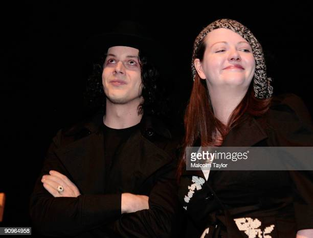 Musicians Jack White and Meg White attend the The White Stripes Under Great White Northern Lights screening held at Elign Theatre during the 2009...