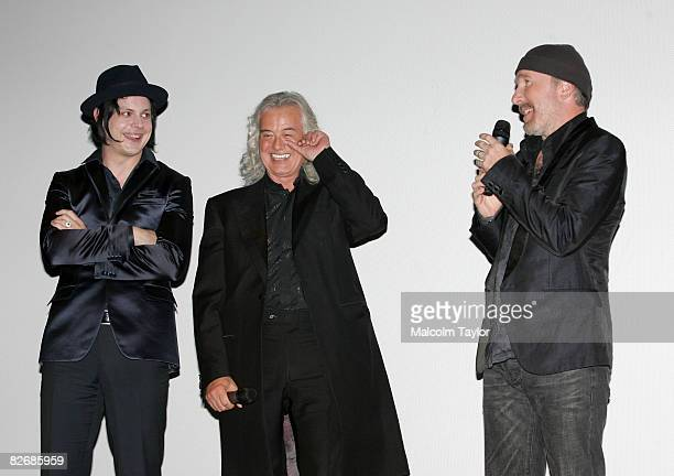 Musicians Jack White Jimmy Page and The Edge attend the premiere of 'It Might Get Loud' during the 2008 Toronto International Film Festival held at...