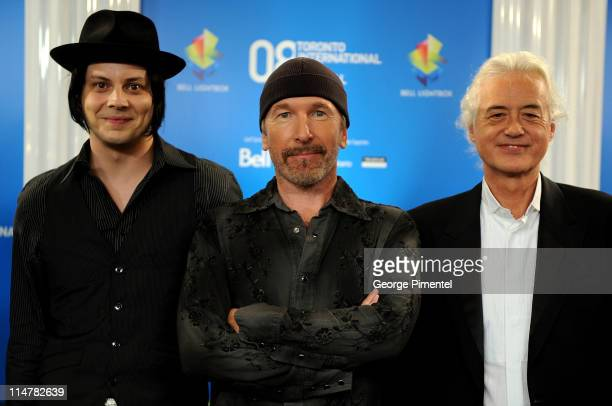 Musicians Jack White The Edge and Jimmy Page speak at the 'It Might Get Loud' press conference during the 2008 Toronto International Film Festival...