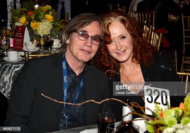 Musicians Jackson Browne and Bonnie Raitt at 2014 MusiCares Person Of The Year Honoring Carole King at Los Angeles Convention Center on January 24...