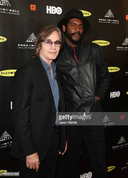 Musicians Jackson Browne and Gary Clark Jr arrive at the 28th Annual Rock and Roll Hall of Fame Induction Ceremony at Nokia Theatre LA Live on April...