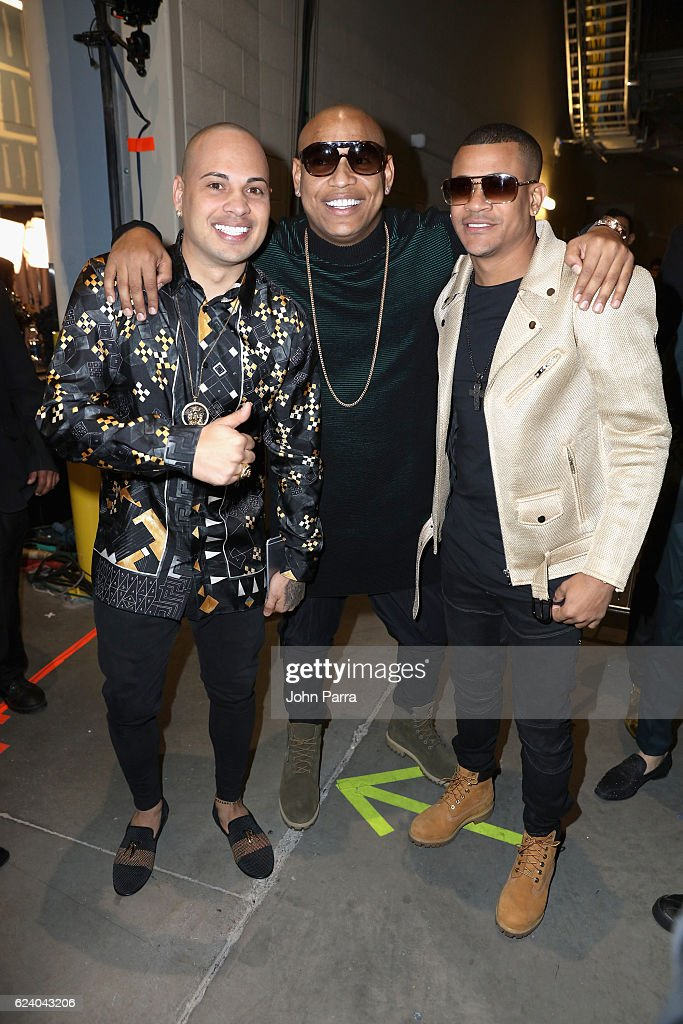 Musicians Jacob Forever, Alexander Delgado and Randy Malcom of Gente de Zona attend The 17th Annual Latin Grammy Awards at T-Mobile Arena on November 17, 2016 in Las Vegas, Nevada.