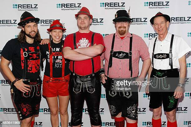 Musicians Jake Kouwe Emily Burke Paul Coates Mike Franklin and Pops Magooch of The Chardon Polka Band attend the REELZ Channel upfront presentation...
