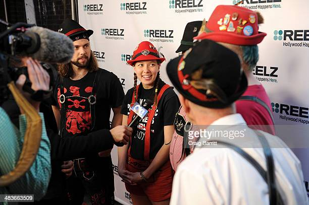 Musicians Jake Kouwe Emily Burke Paul Coates Mike Franklin and Pops Magooch of Polka Kings attend the REELZ Channel upfront presentation at Hudson...