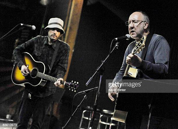 Musicians Jakob Dylan and Pete Townshend perform at Rachel Fuller's In The Attic presented by Best Buy at the Troubador on November 7 2008 in West...