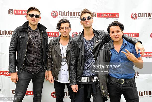 Musicians James Adam Shelley Matt Sanchez Zac Barnett and Dave Rublin of the band American Authors pose backstage during Chipotle's Cultivate San...