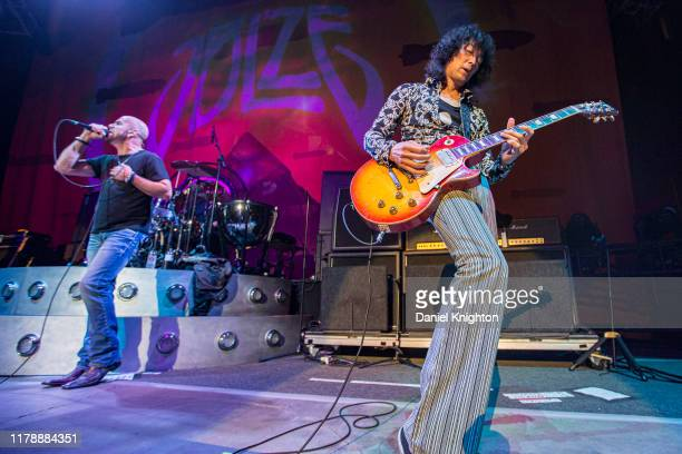 Musicians James Dylan and Jimmy Sakurai of Jason Bonham's Led Zeppelin Evening perform on stage at Cal Coast Credit Union Open Air Theatre on October...