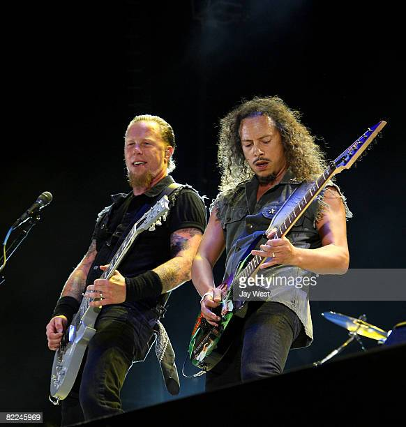 Musicians James Hetfield and Kirk Hammett of Metallica perform at Ozzfest 2008 at the Pizza Hut Park on August 9, 2008 in Frisco, Texas.
