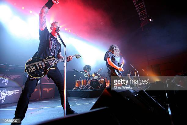 Musicians James Hetfield and Kirk Hammett of Metallica performs onstage at exclusive the Call Of Duty Black Ops Launch Party held at Barker Hangar on...