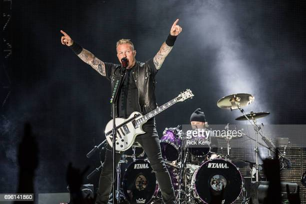 Musicians James Hetfield and Lars Ulrich of Metallica perform in concert at the Alamodome on June 14 2017 in San Antonio Texas