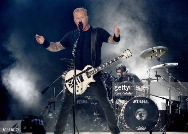 Musicians James Hetfield and Lars Ulrich of Metallica perform onstage at the Rose Bowl on July 29 2017 in Pasadena California