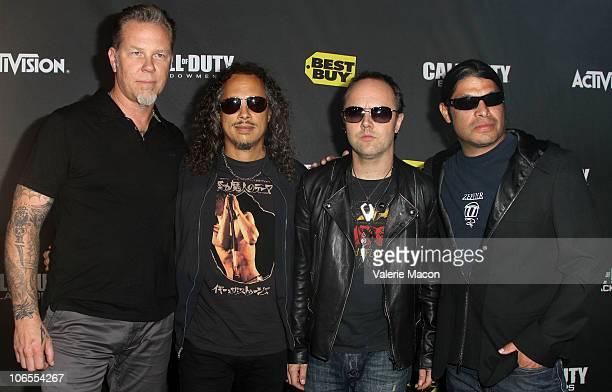 "Musicians James Hetfield, Kirk Hammett, Lars Ulrich, and Robert Trujillo of Metallica arrive at Activision's ""The Call Of Duty: Black Ops"" Launch..."