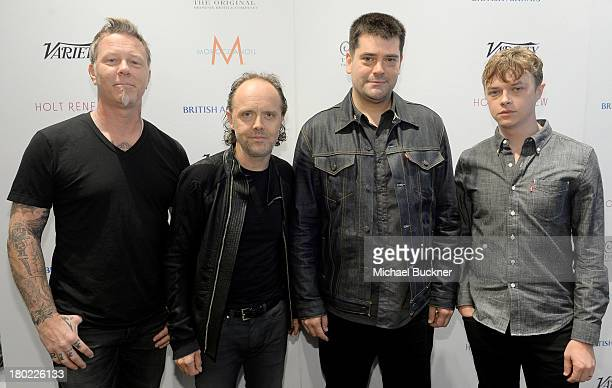 Musicians James Hetfield Lars Ulrich director Nimrod Antal and actor Craig Van Hook attend the Variety Studio presented by Moroccanoil at Holt...